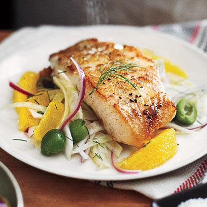 White Sea Bass with Orange-Fennel Relish Recipe