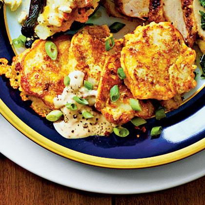 Cauliflower Galettes with Chipotle Crème Fraîche Recipe