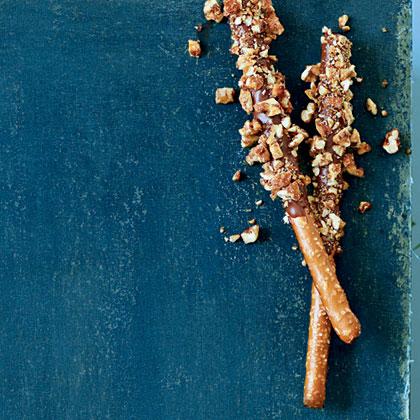 Chocolate-Dipped Praline Pretzels