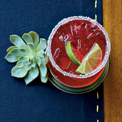 Hibiscus-Mint Margaritas RecipeBright and refreshing hibiscus powers this margarita and gives it some amazing flavor.