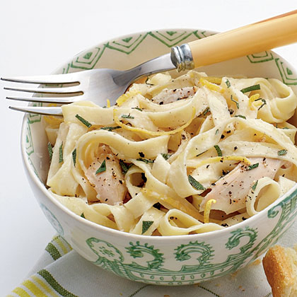 Linguine with Turkey, Basil, and Crème Fraîche Recipe