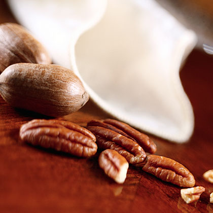 Pecans are a good source of protein, monounsaturated fat, vitamin E, and fiber.  They're also naturally sodium-free.  Pecans are available all year long, and shelled pecans can be kept in the refrigerator for about nine months and for up to two years in the freezer.  Use these nuts to add both flavor and crunch to salads, appetizers, main dishes, and, of course, desserts such as pie.