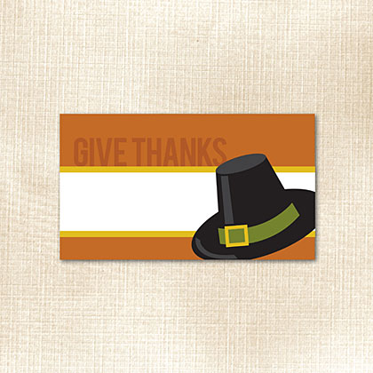Give Thanks Pilgram Hat Place Card