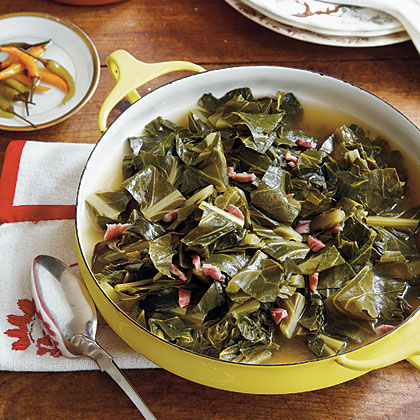 "Old-Fashioned Collard Greens RecipeIt's not uncommon for Southerners to ""put on a pot of collards"" at lunchtime and cook them until supper. When shopping for collard greens, buy by the bunch. Avoid bunches with shriveled and yellowed leaves."
