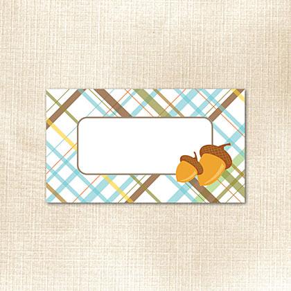 Plaid with Autumn Acorns Place Card