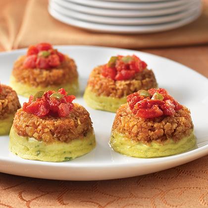 Avocado Cheesecakes with Spicy Tomato Chutney