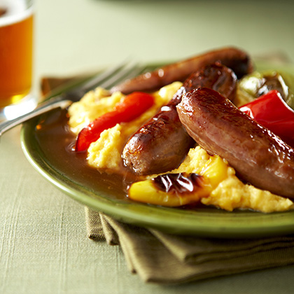 Breakfast Sausage and Peppers with Cheesy Eggs