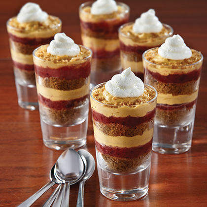 Mini Pumpkin Parfait with Cranberry Caramel