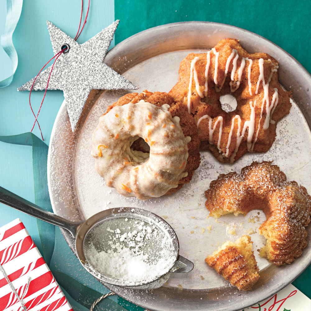 Buttermilk Bundt Cakes RecipeHere we offer three garnishing options for these adorable, delicious cakes: Simply dust with powdered sugar, pipe a bit of glaze over the top, or completely dunk the cakes for a heavier coating.