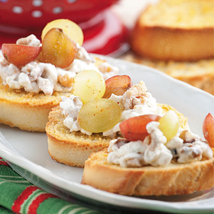 Breakfast Bruschetta RecipeTurn an appetizer dish into breakfast when you top toasted baguette slices with ricotta cheese and a cinnamon-fresh fruit mixture.