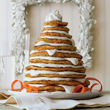 Carrot Cake Pancakes                            RecipeUse the small holes of a box grater to finely grate the carrots by hand; if you use a food processor, the carrots will be too wet, making the pancakes dense and less tender. Go ahead, have your veggies for breakfast.