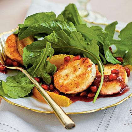 Crispy Goat Cheese-Topped Arugula Salad with Pomegranate Vinaigrette