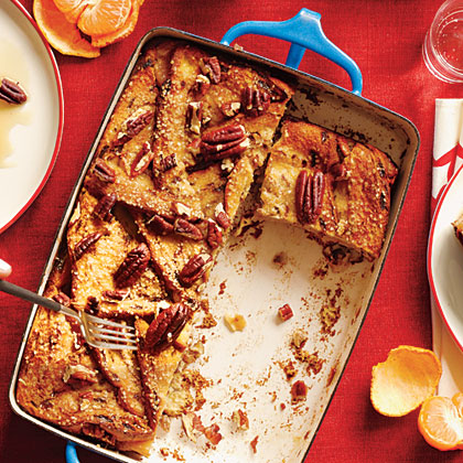Apple-Stuffed Strata RecipeLast-minute prep for this make-ahead breakfast casserole couldn't be simpler: Just add a dusting of sugar and nuts.