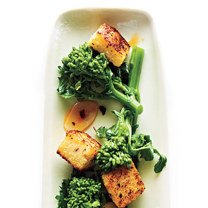 Broccoli Rabe with Polenta Croutons Recipe