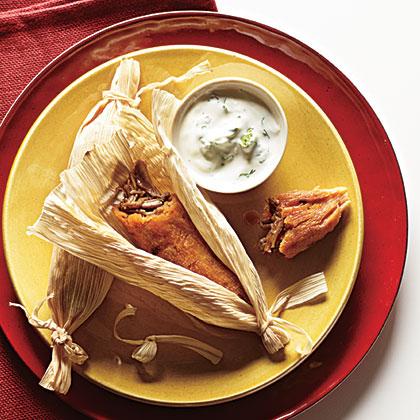 Chipotle Pork Tamales with Cilantro-Lime Crema