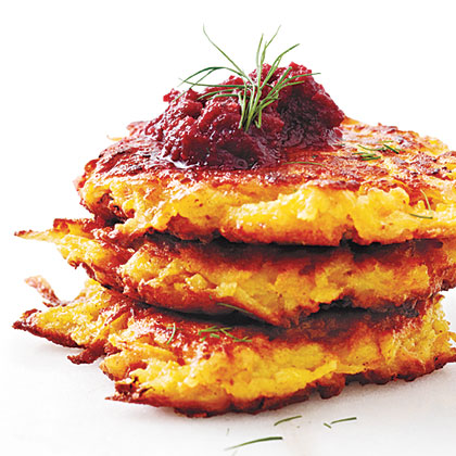 Crispy Root Vegetable Latkes with Beet Puree Recipe