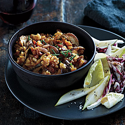 Pumpkin-Shiitake Risotto with Pancetta and Pine Nuts Recipe