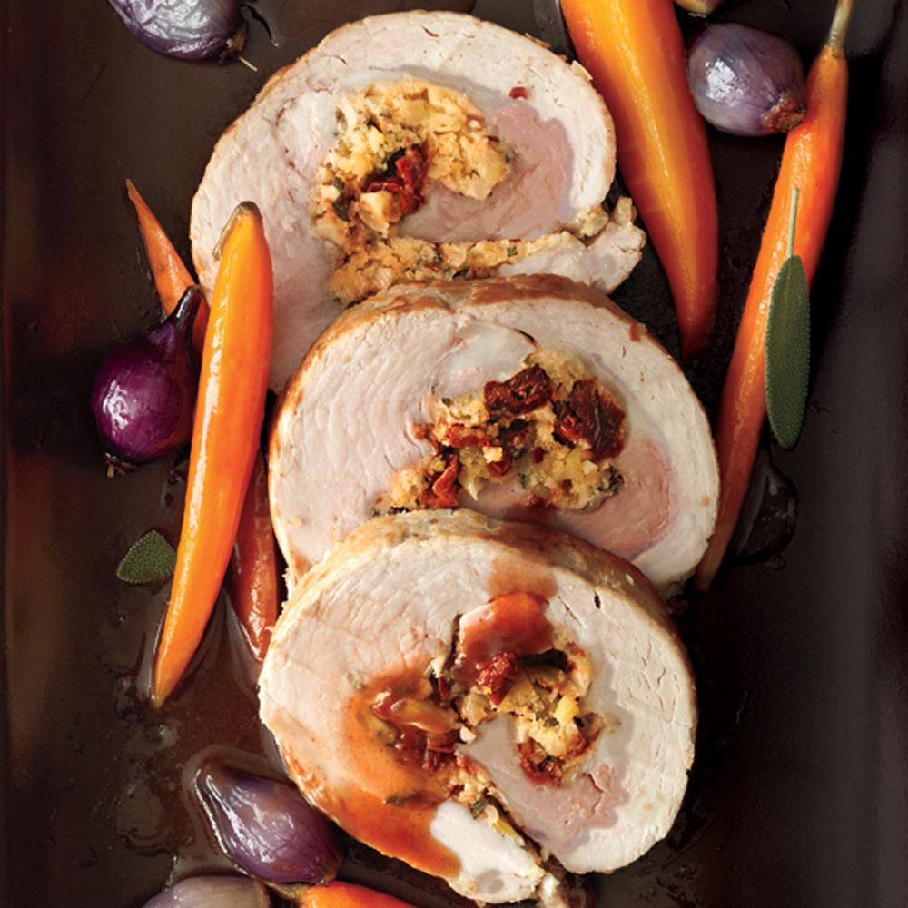 Roast Stuffed Pork Loin with Port Sauce Recipe