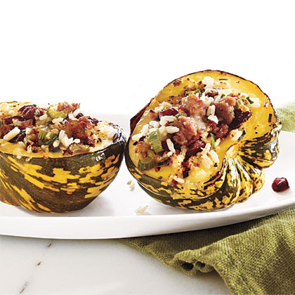 Sausage and Rice-Stuffed Acorn Squash Recipe