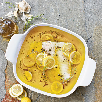 Olive Oil-Poached Black Cod with Lemons, Capers, and Thyme