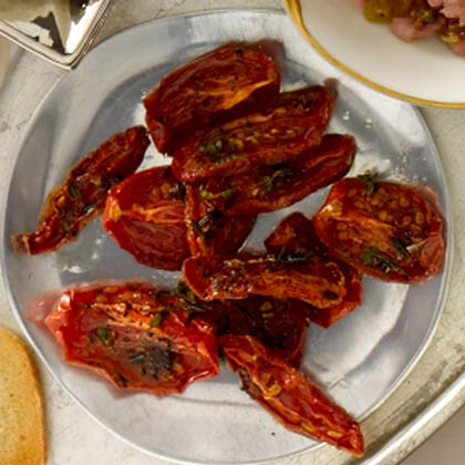 <p>Oven Roasted Thyme Tomatoes</p>