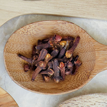 This spice can be bought whole, as shown here, or ground and is used in a variety of dishes from savory to sweet. Whole cloves are the uopened bud of the clove tree.