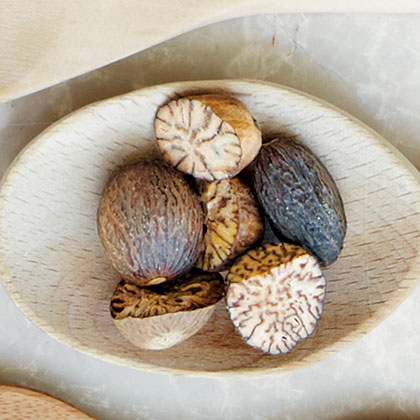 This ancient seed is native to the Spice Islands. It is sold whole or ground, but whole is preferred for freshness. Nutmeg graters or metal rasps work well for grating.