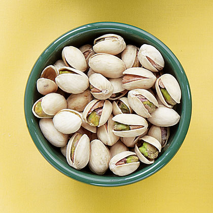These popular green-colored nuts are available in many forms–roasted, salted, shelled, and unshelled. When purchasing unshelled pistachios, be sure that the shells are slightly opened, indicating that they are mature. They can be stored for up to 3 months in the refrigerator and can be toasted in the oven to restore crispness.