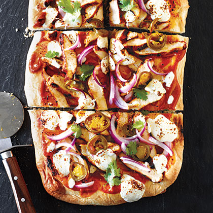 BBQ Chicken Pizza with Fresh Mozzarella and Pickled Jalapeños Recipe