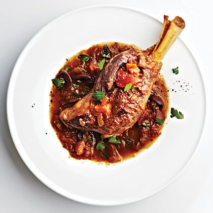 Use the Slow-Cooker Marinara from Day 11 in this dish. Succulent lamb shanks simmer in the delightful homemade sauce, resulting in a rich and tender entree.Braised Lamb Shanks Recipe