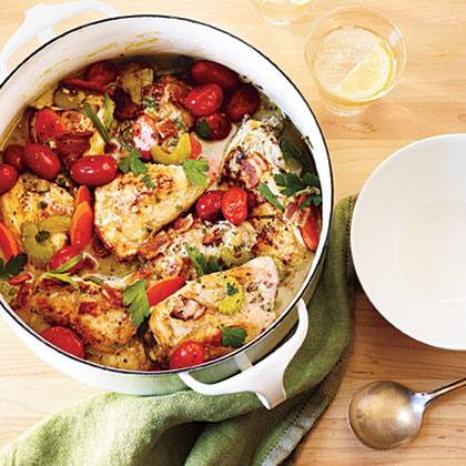 Chicken in Wine Sauce RecipeUse both chicken thighs and chicken breast halves in this hearty chicken stew that is packed with vegetables and flavored with wine and fresh herbs.