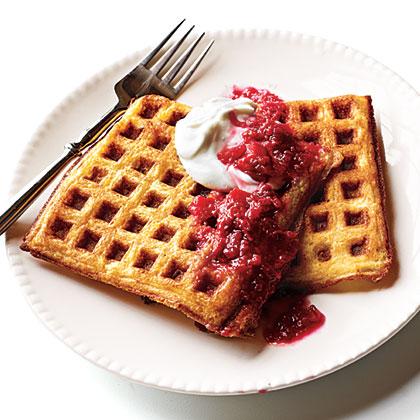 Lemon Cornmeal Waffles with Raspberry-Rhubarb Compote