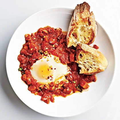 Marinara Poached Eggs Recipe