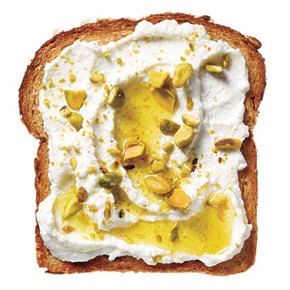 Ricotta-Pistachio Toast RecipeKeep weekday mornings interesting with Ricotta-Pistachio Toast for breakfast.