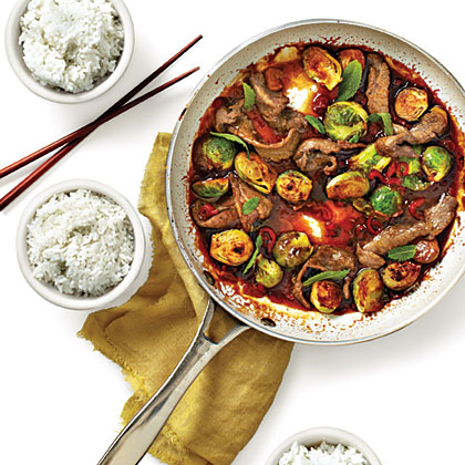 Beef-and-Brussels Sprouts Stir-fry