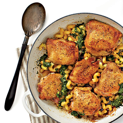 crispy chicken thighs with pasta and pesto recipe myrecipes