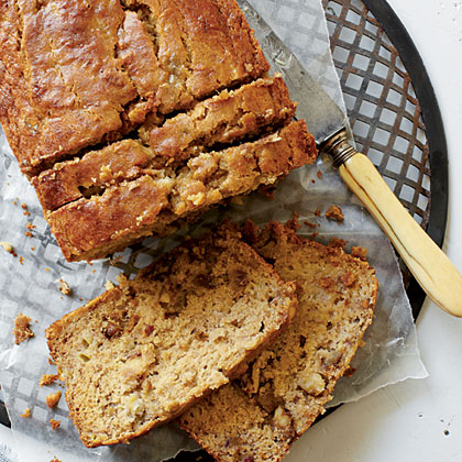 Gluten-Free Banana Bread RecipeThis gluten-free breakfast bread gets its natural sweetness from extra ripe bananas, dates, and applesauce. Enjoy it plain or slathered with peanut butter for extra protein.