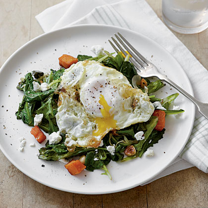Sautéed Greens with Olive Oil-Fried Eggs Recipe