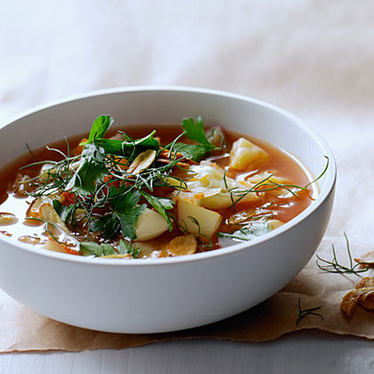 Cabbage and Fennel Soup with Toasted Garlic Chips