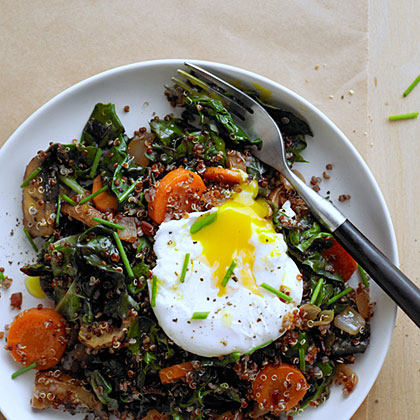Red Quinoa Bowl with Swiss Chard and Poached Egg Recipe