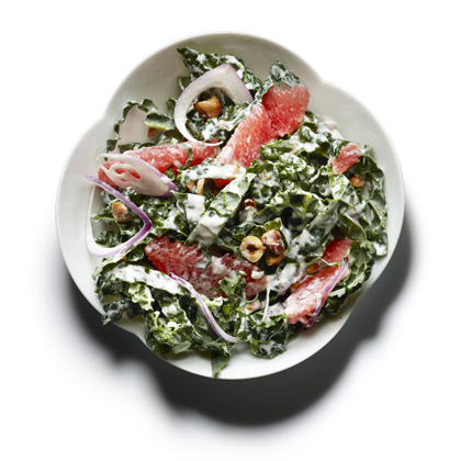 <p>Raw Kale, Graperuit, and Toasted Hazelnut Salad</p>
