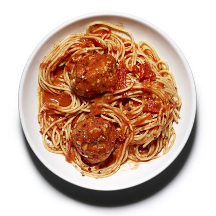 <p>Whole-Wheat Spaghetti and Meatballs</p>