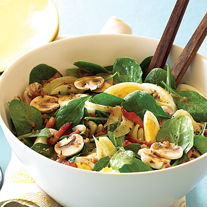 Spinach, Mushroom, and Fennel Salad with Warm Bacon Vinaigrette Recipe ...