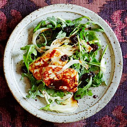 Arugula and Halloumi Salad with Pomegranate Molasses Dressing