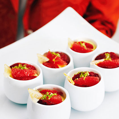 Honey Custards with Blood Oranges and Candied LemonRecipe