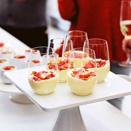 Rhubarb Verrines with Salty Macadamia Crumble