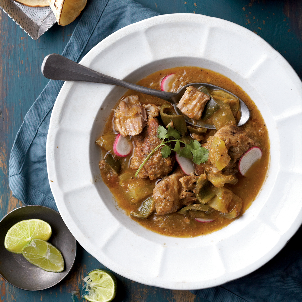 We like the tang and body that green tomatoes give this comforting stew. Chile peppers and warm spices lend a Mexican flair. Serve with warmed corn tortillas, if desired.Green Tomato Chile Verde Recipe