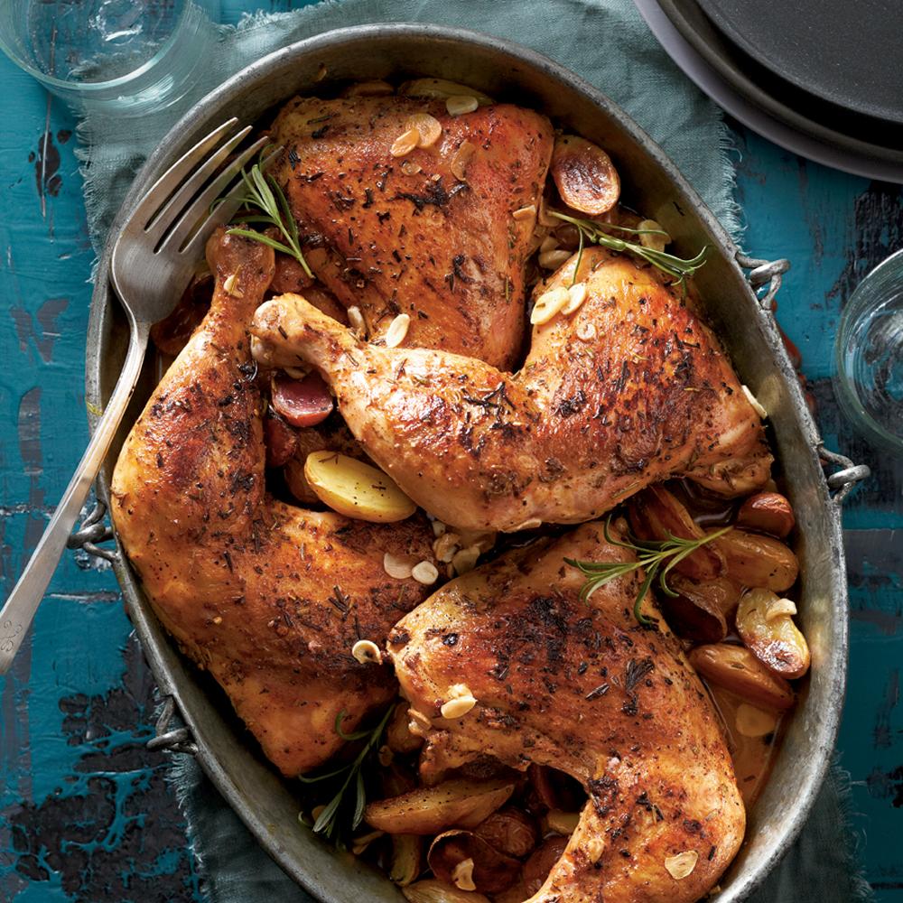 Rosemary-Garlic Chicken Quarters