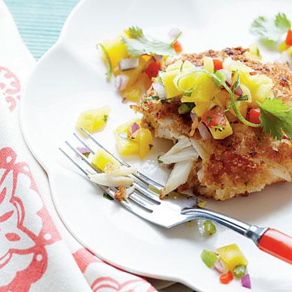 Crispy Crab Cakes with Mango-Pineapple Salsa Recipe