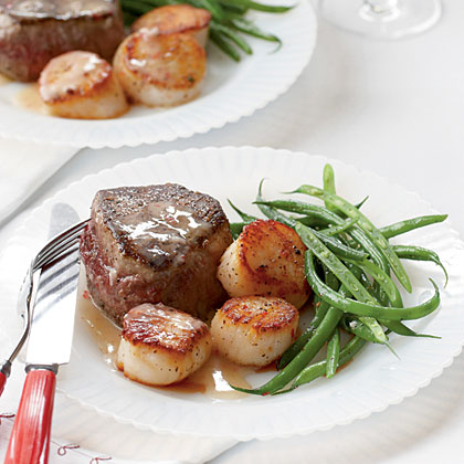 Steak and Scallops with Champagne-Butter Sauce Recipe